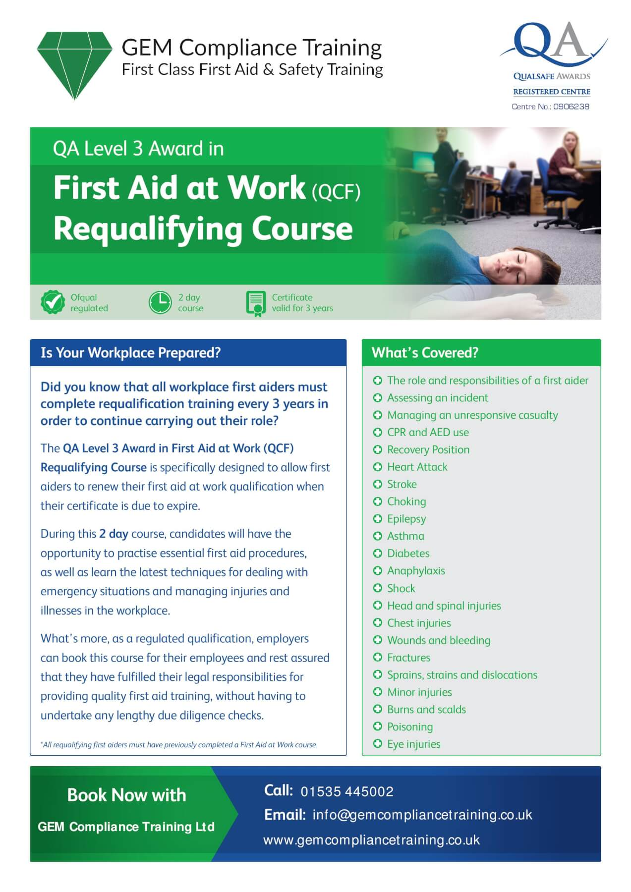 first aid at work courses