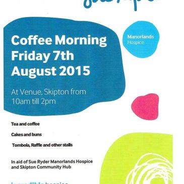 Coffee Morning at the Venue in Skipton this Friday